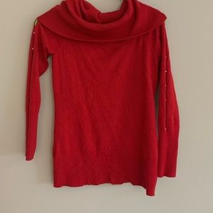 Lipstick red turtle neck sweater